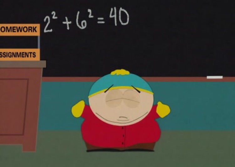 A funny picture of Eric Cartman of South Park in front of a blackboard for comic relief while examining Ruby fizzbuzz